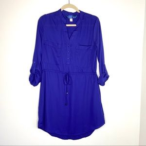 Blue Rain Shirt Dress Roll Sleeve drawstring waist